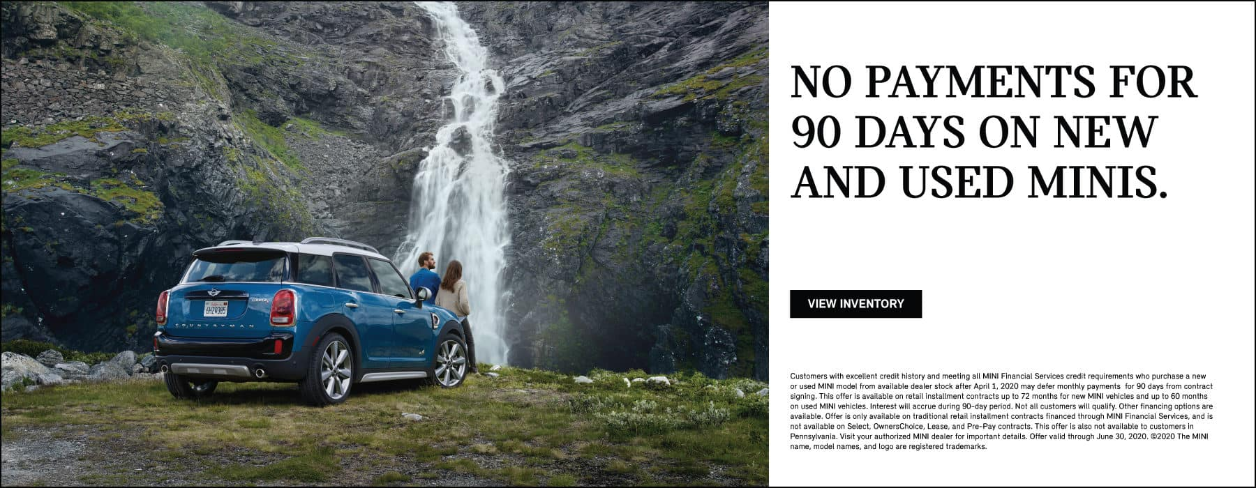 No payments for 90 days on new and used MINIs. Blue MINI Cooper S Countryman ALL4 parked in front of waterfall.