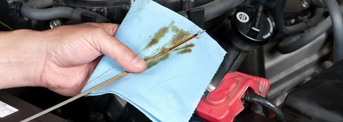 close up of oil check dipstick test