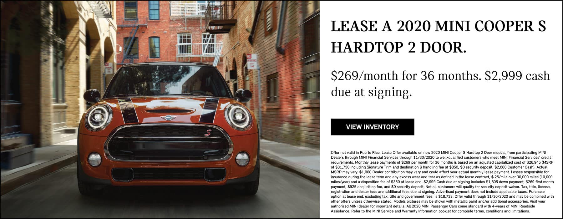 LEASE A 2020 MINI COOPER S HARDTOP 2 DOOR FOR $269 A MONTH. SEE DEALER FOR COMPLETE DETAILS.