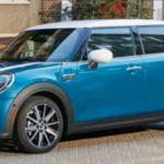 2022 mini cooper parked back blue exterior