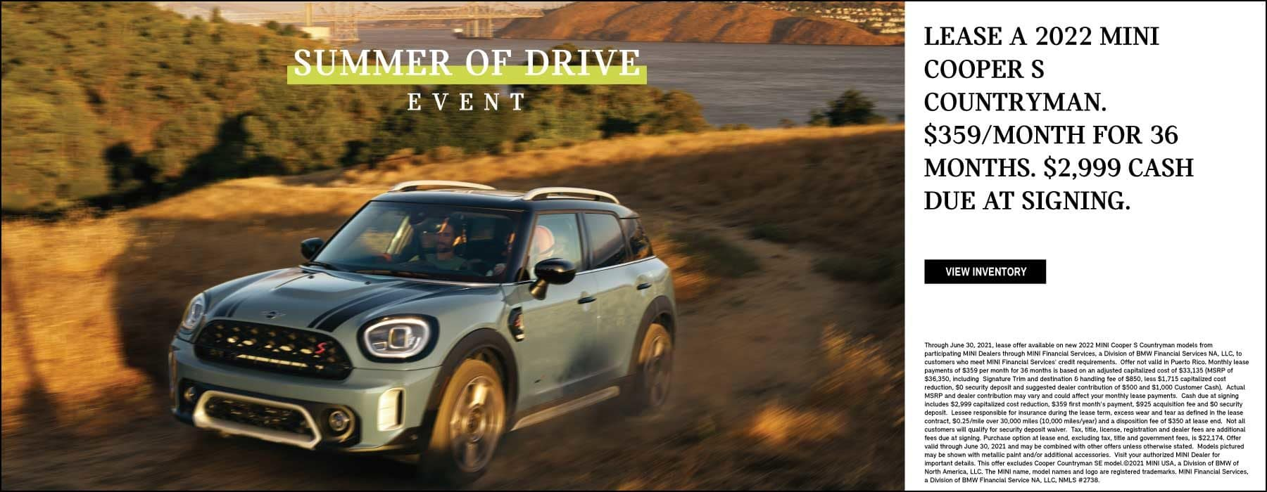 LEASE A 2022 MINI COOPER S COUNTRYMAN FOR $359 A MONTH.