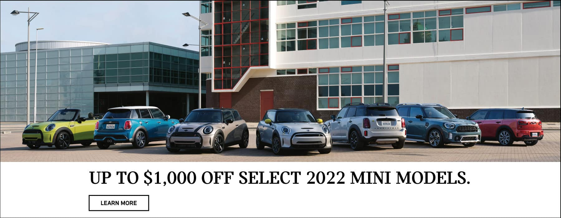 Receive up to $1,000 off on select 2022 MINI models. Click to learn more.