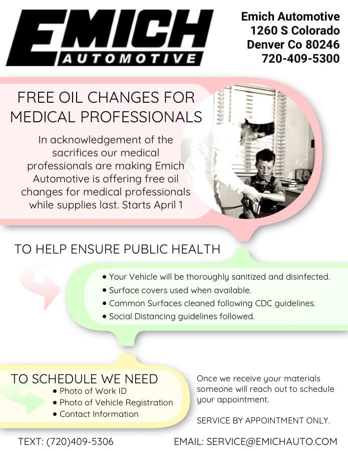 Free Oil Changes for Medical Professionals