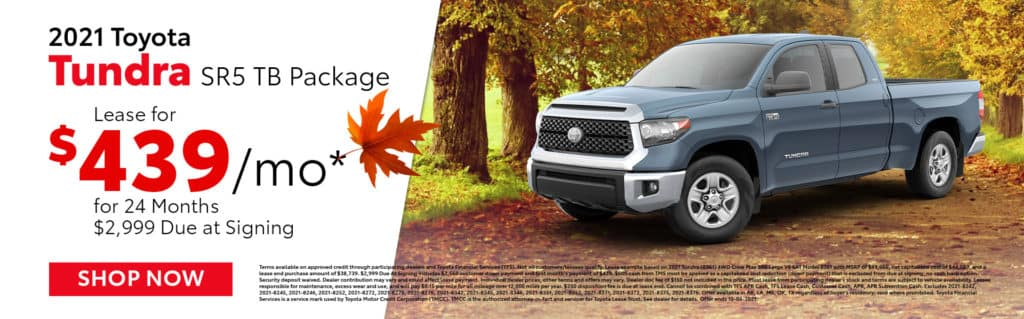 Lease a 2021 Toyota Tundra TB Package for $439/mo for 24 Months