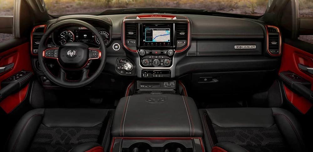 2019 Ram 1500 Rebel interior black and red dashboard