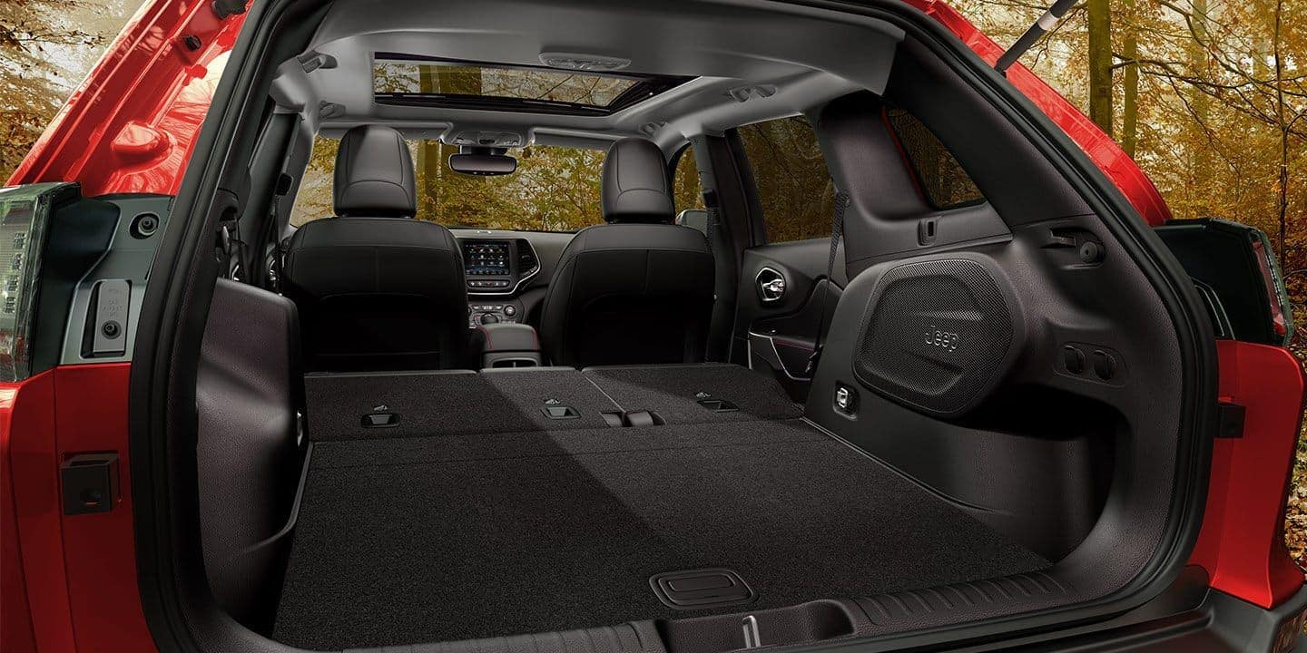 2019 Jeep Cherokee interior from trunk with seats folded down
