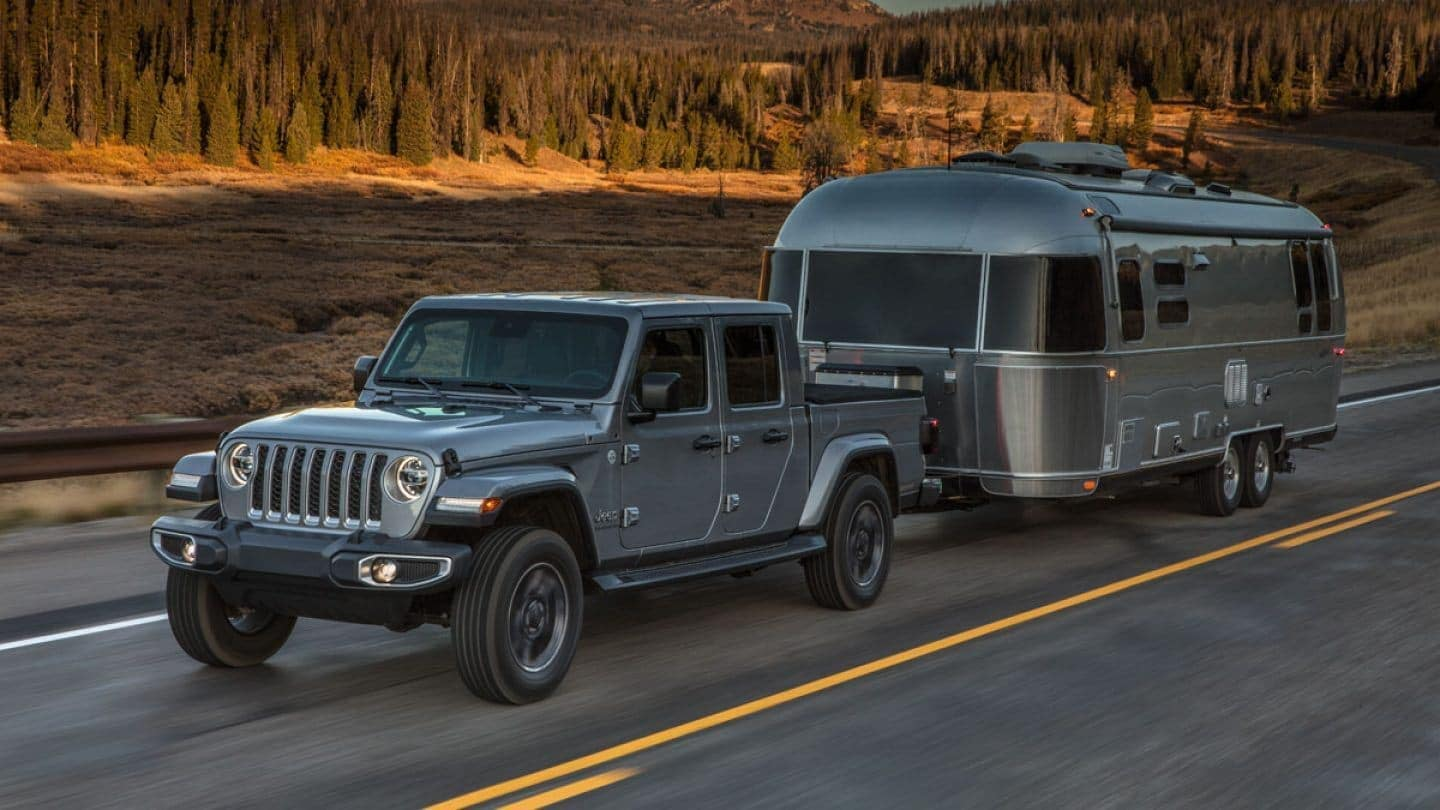 2020 Jeep Gladiator towing an airstream trailer