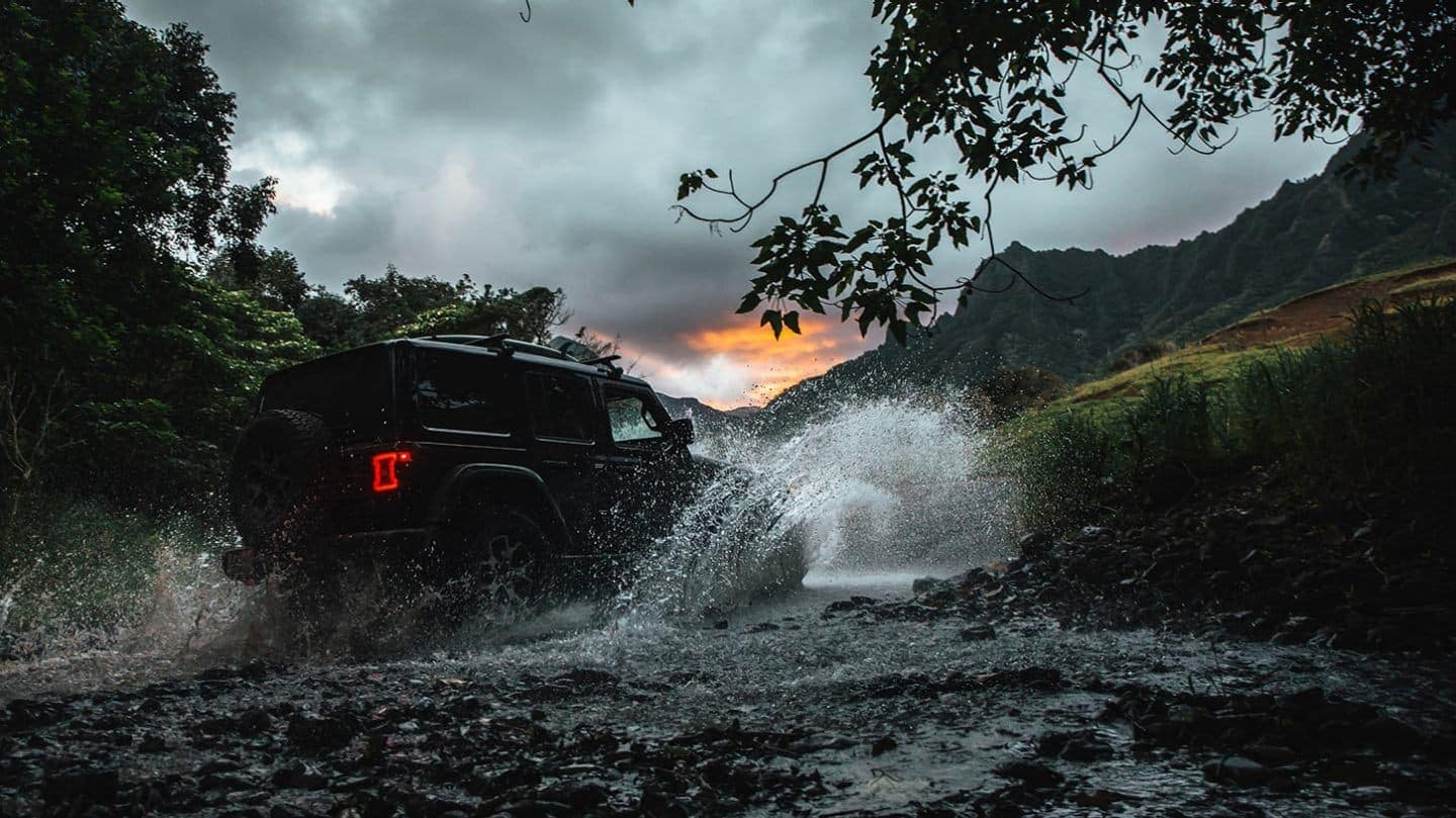2020 Jeep Wrangler driving in water