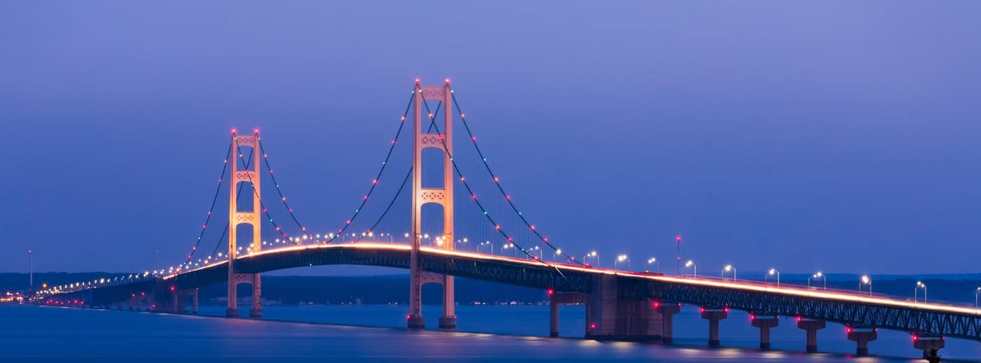 Mackinac Island Bridge at night