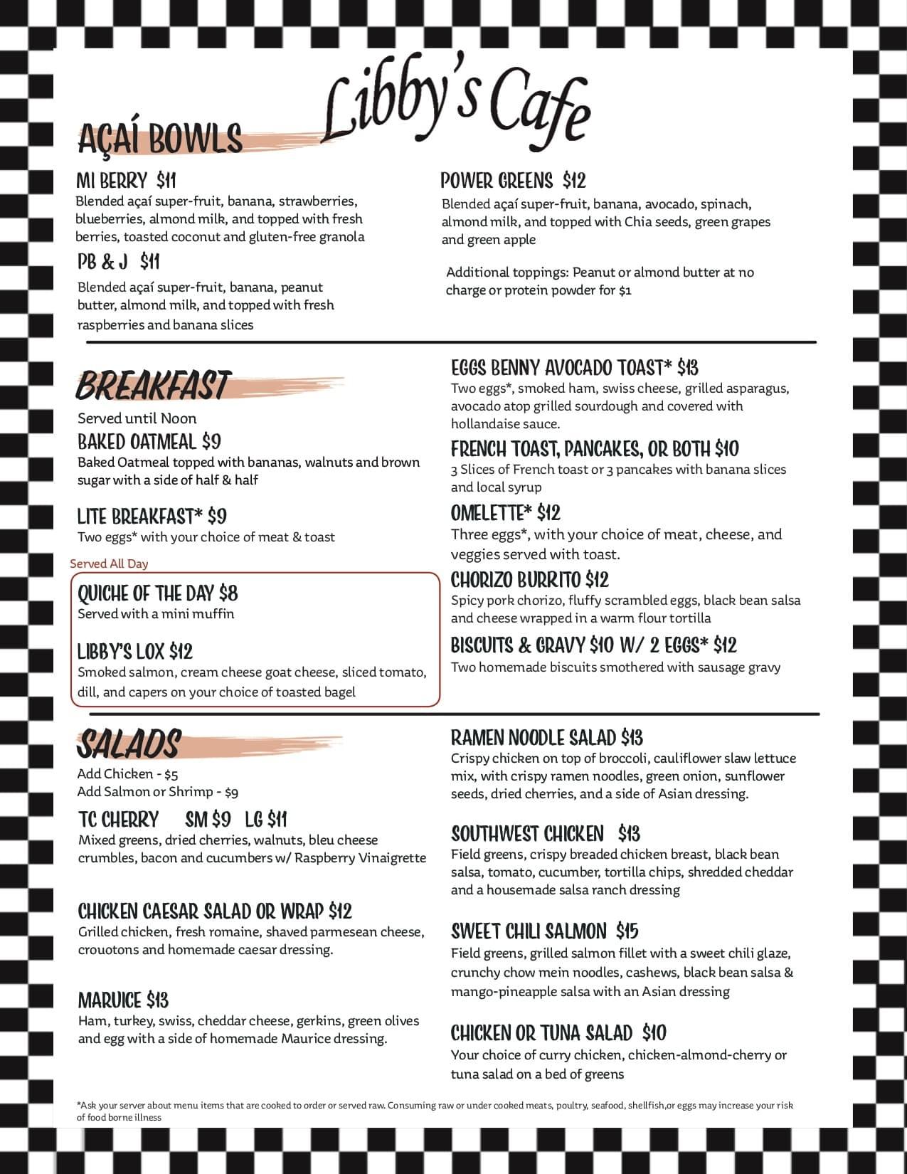 Libbys cafe menu at Fernelius Automotive