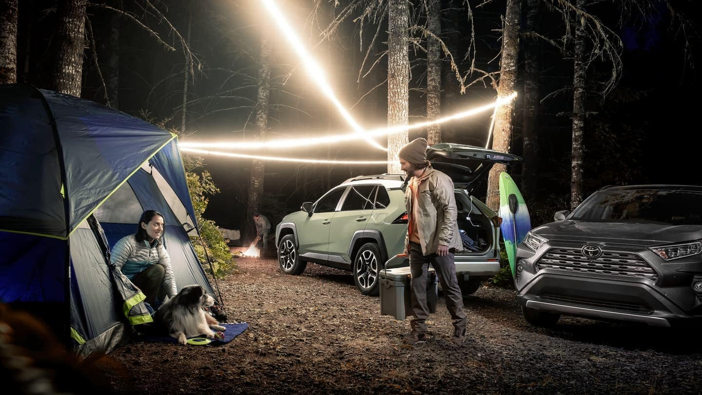 2019 Toyota RAV4 parked with liftgate open at camping site