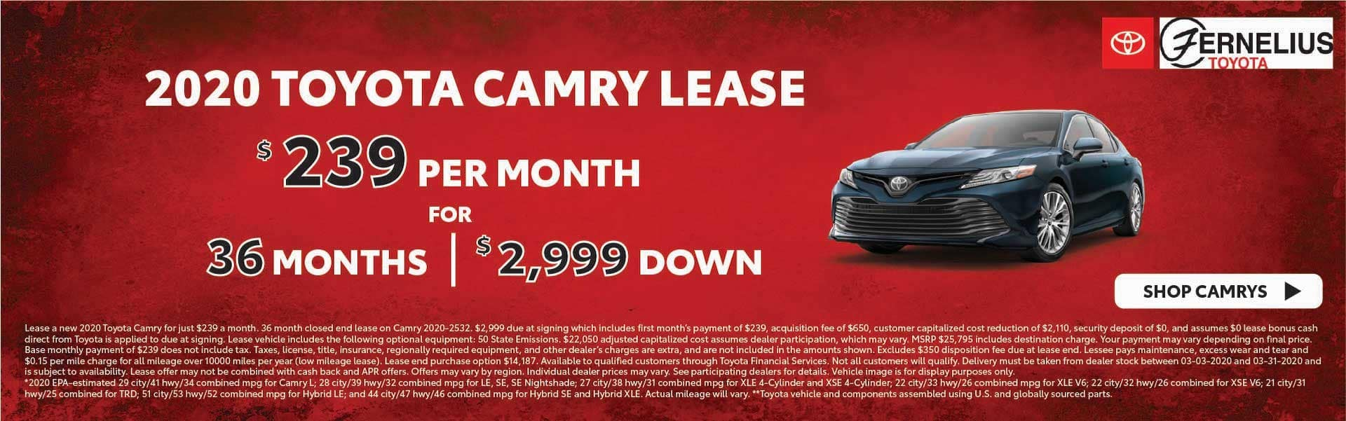 2020 Camry lease