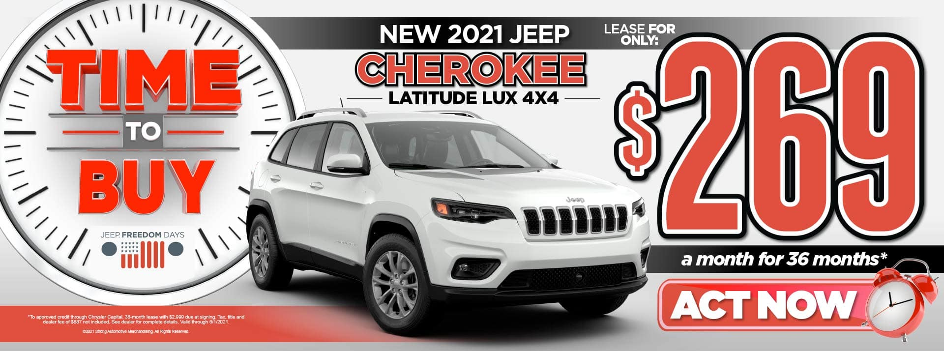 NEW 2021 JEEP CHEROKEE LATITUDE LEASE FOR $269/MO* ACT NOW