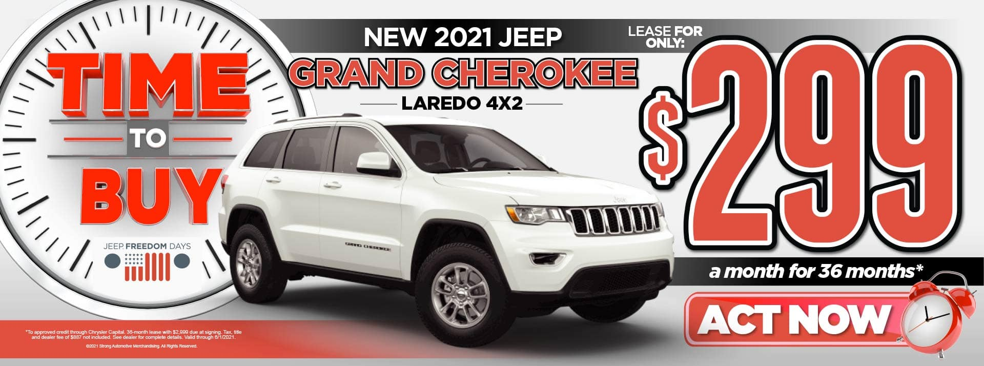 NEW 2021 JEEP GRAND CHEROKEE LEASE FOR $299/MO* ACT NOW