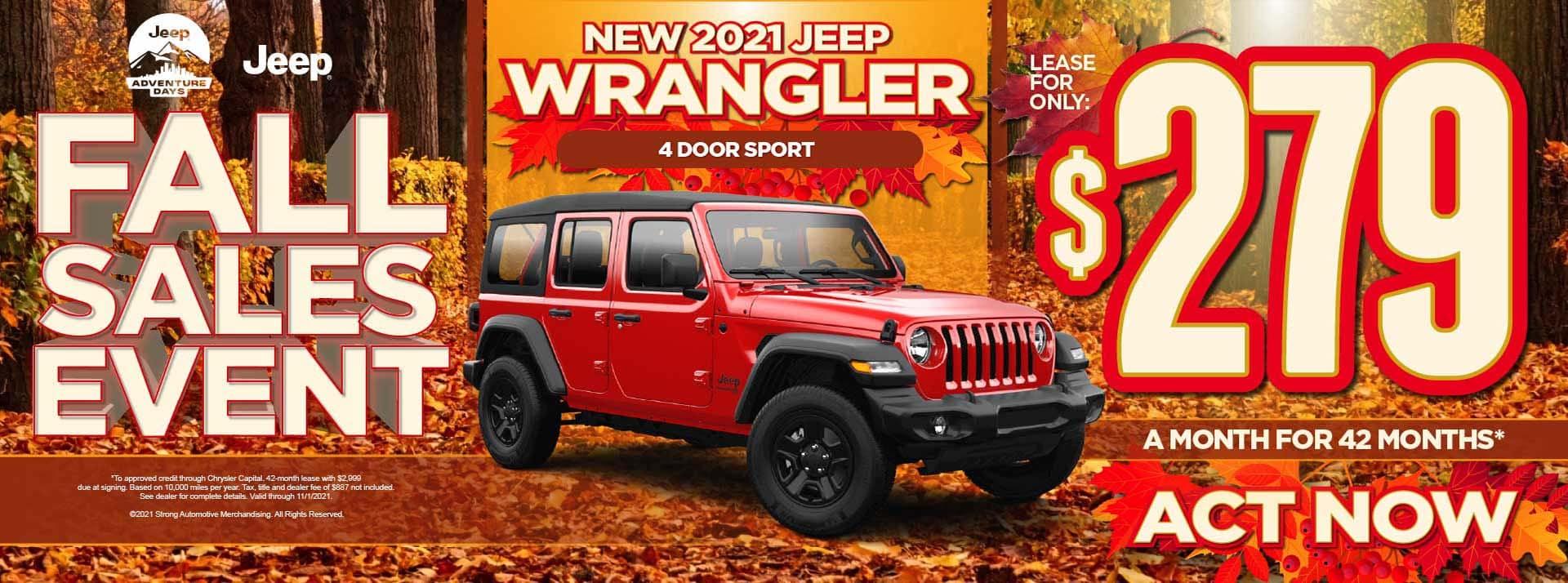 New 2021 Jeep Wrangler 4 Door Sport– $279 / mo - ACT NOW
