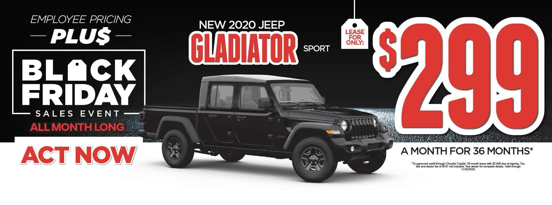 New 2020 Jeep Gladiator Sport lease for only $299/Mo* Act Now