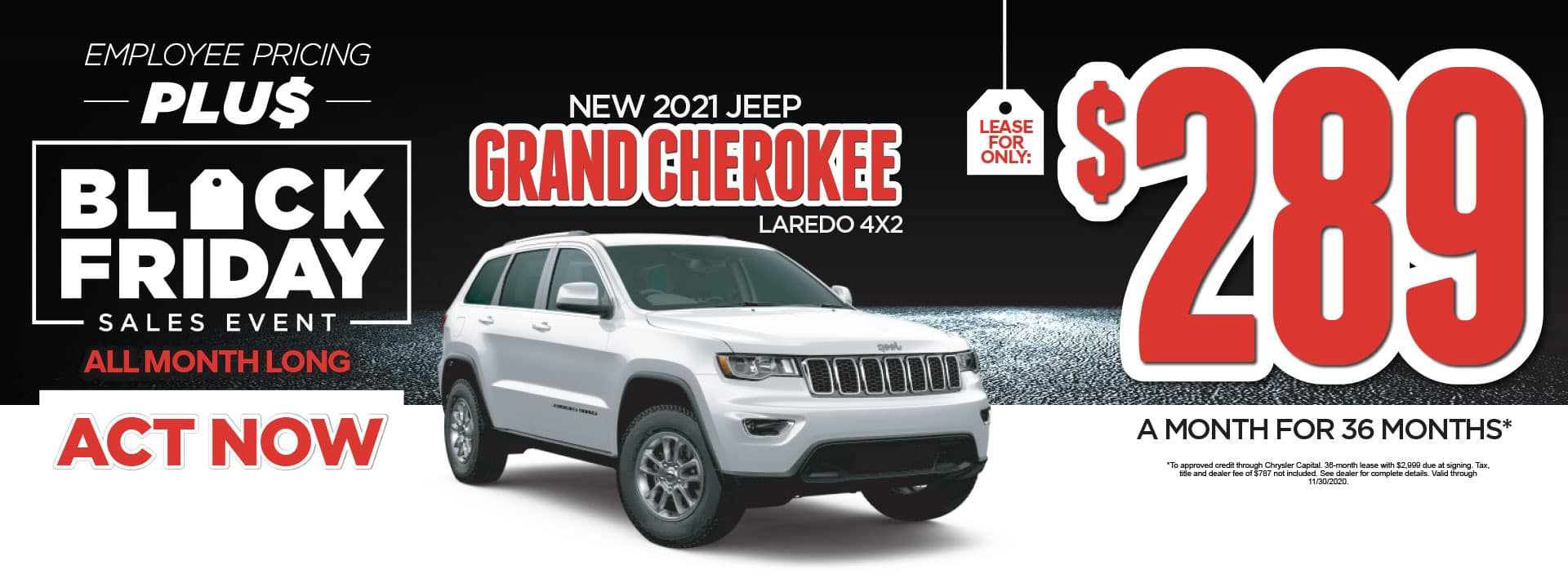 New 2021 Jeep Grand Cherokee Laredo 4x2 lease for only $289/Mo* Act Now