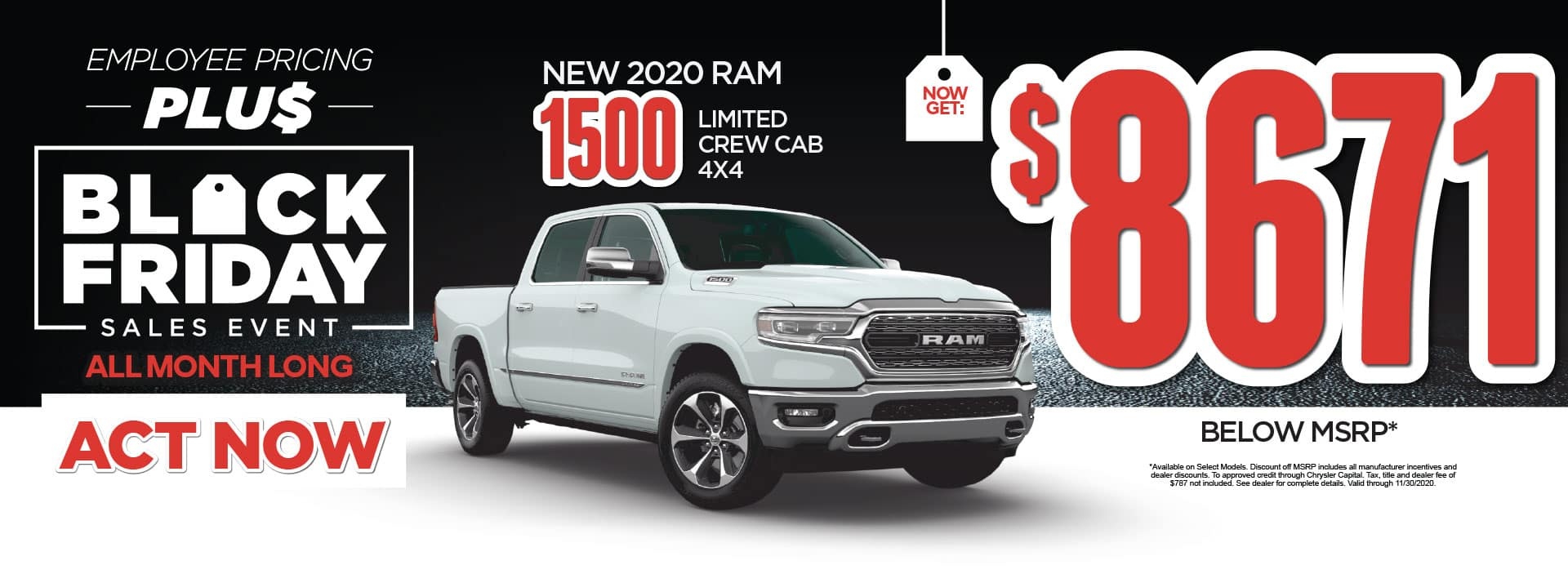 Now get $8671 Below MSRP on New 2020 Ram 1500 Limited Crew Cab* Act Now