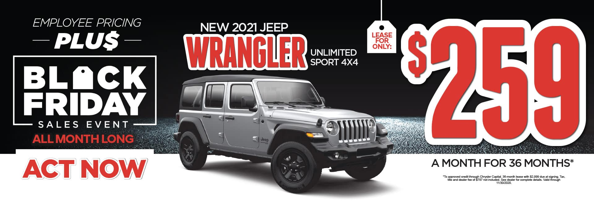 New 2021 Jeep Wrangler Unlimited Sport 4x4 lease for only $259/Mo* Act Now