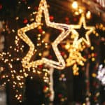 Stylish christmas golden star illumination
