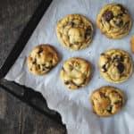 Freshly Baked Chocolate Chip Cookies on Baking Sheet