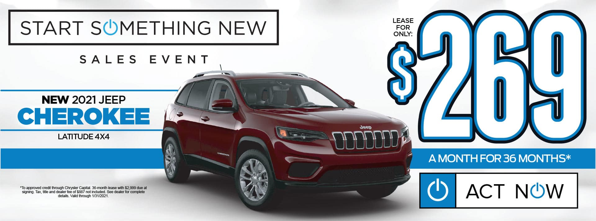 NEW 2021 JEEP CHEROKEE LEASE FOR $269/MO* SHOP NOW
