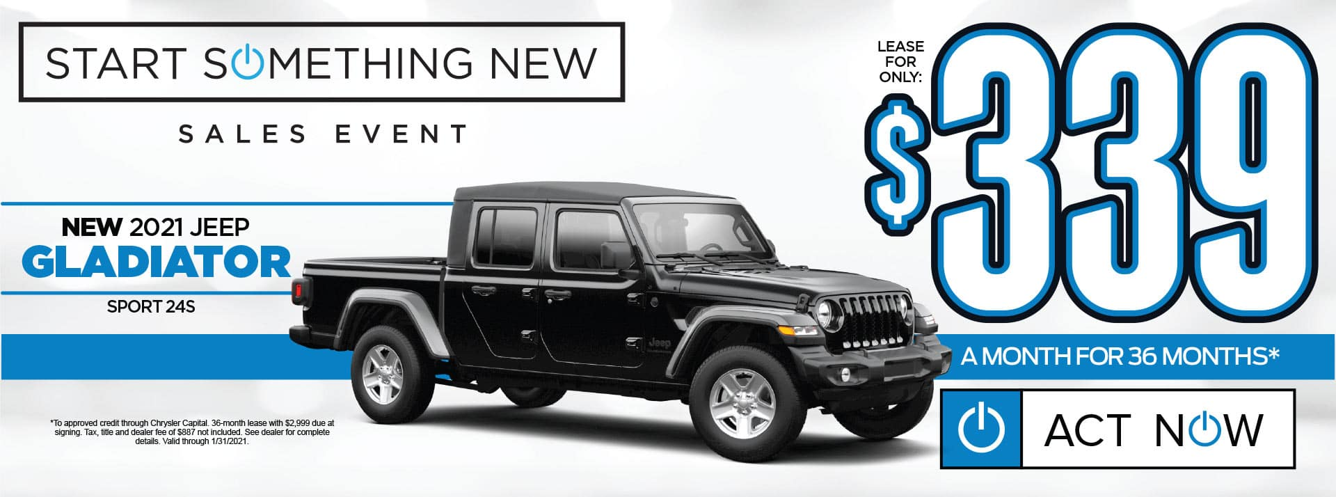 NEW 2021 JEEP GLADIATOR LEASE FOR $339/MO* SHOP NOW