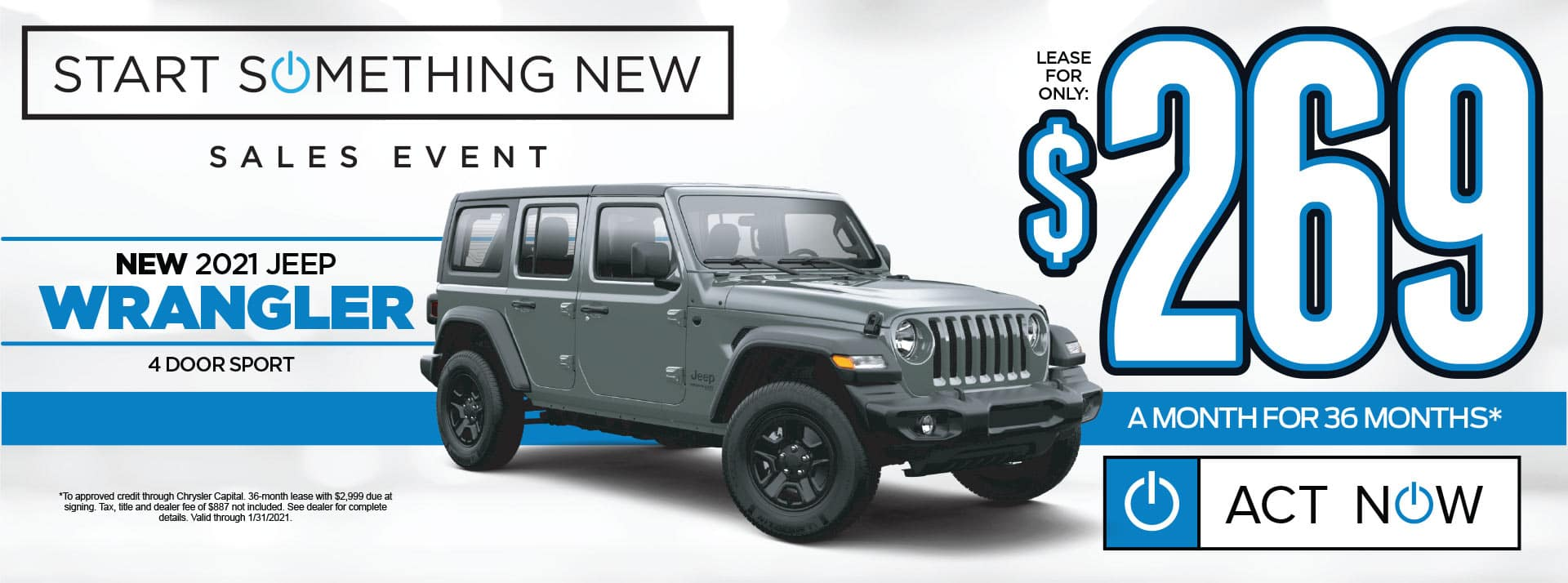NEW 2021 JEEP WRANGLER LEASE FOR $269/MO* SHOP NOW