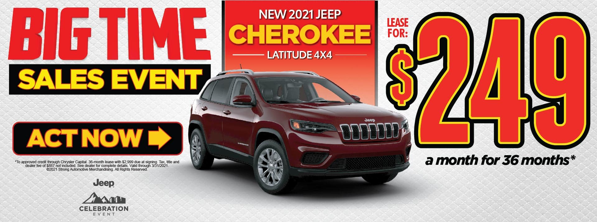 NEW 2021 JEEP CHEROKEE LATITUDE LEASE FOR $249/MO* ACT NOW