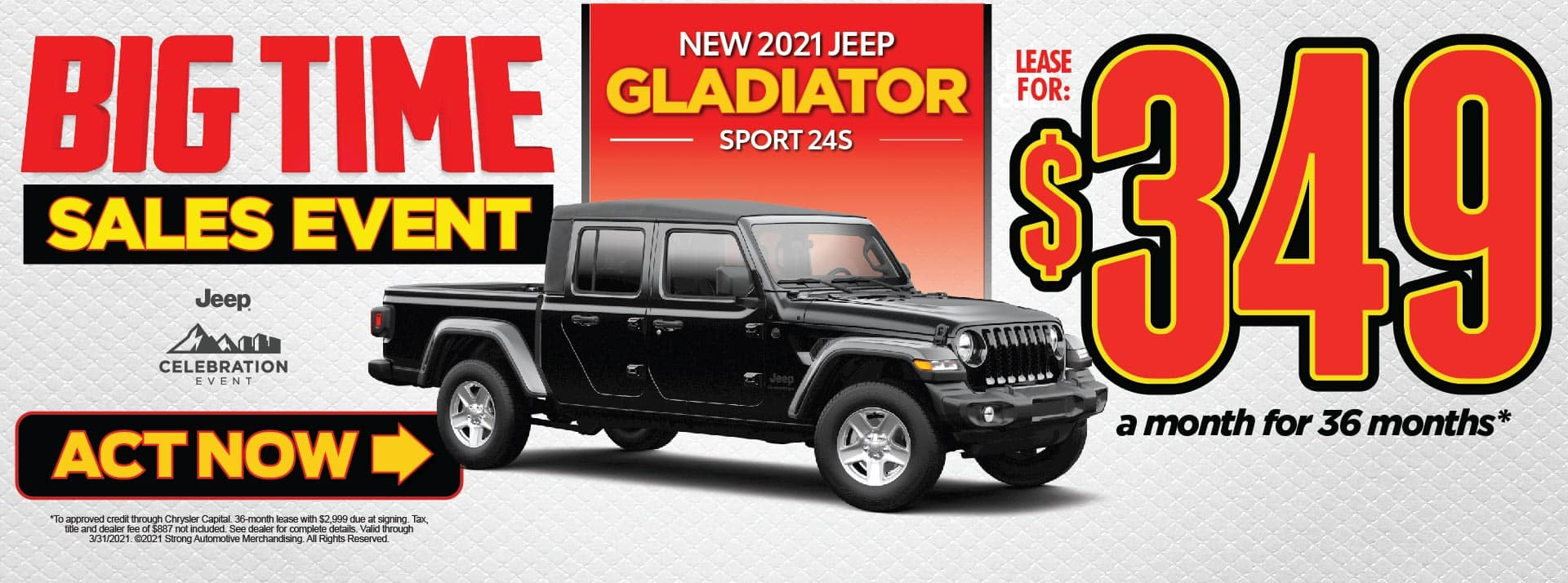 NEW 2021 JEEP GLADIATOR LEASE FOR $349/MO* ACT NOW