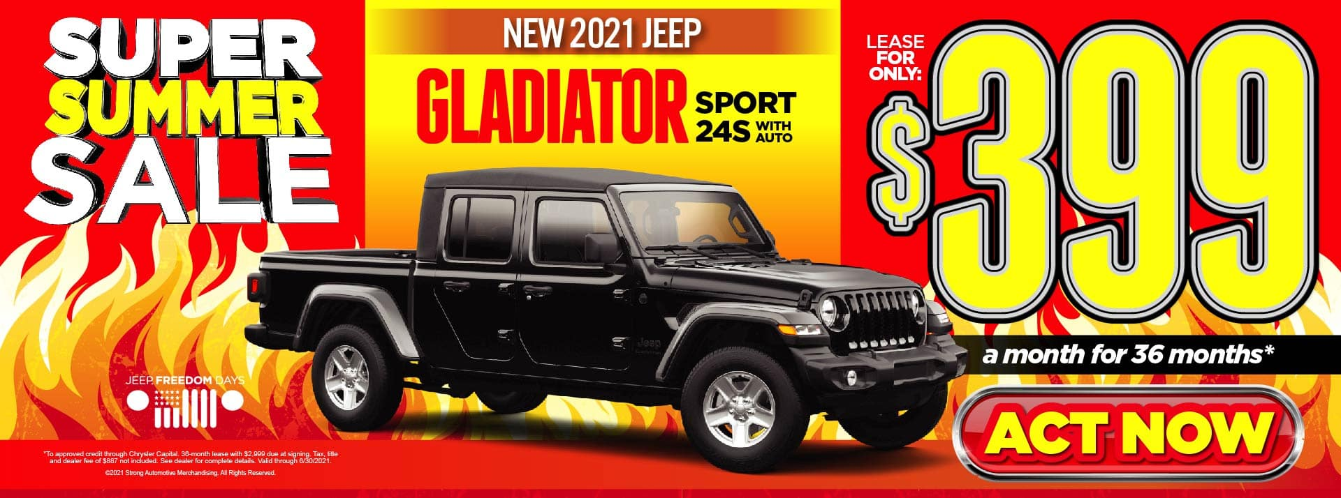 NEW 2021 JEEP GLADIATOR LEASE FOR $399/MO* ACT NOW