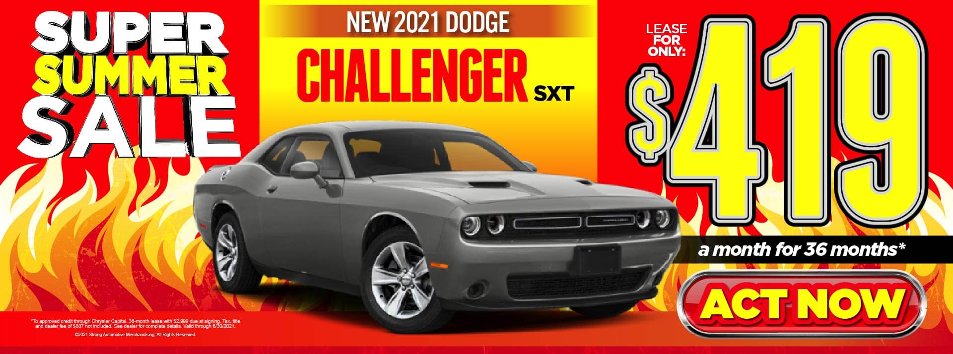 NEW 2021 DODGE CHALLENGER SXT LEASE FOR $419/MO* ACT NOW