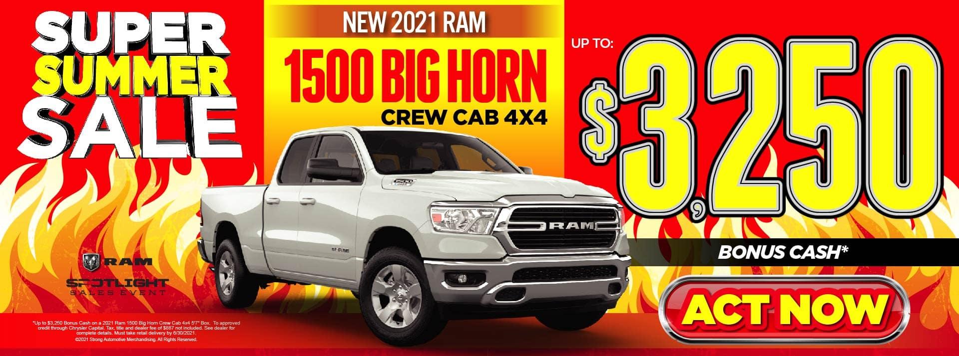 NEW 2021 RAM 1500 BIG HORN UP TO $3250 BONUS CASH* ACT NOW
