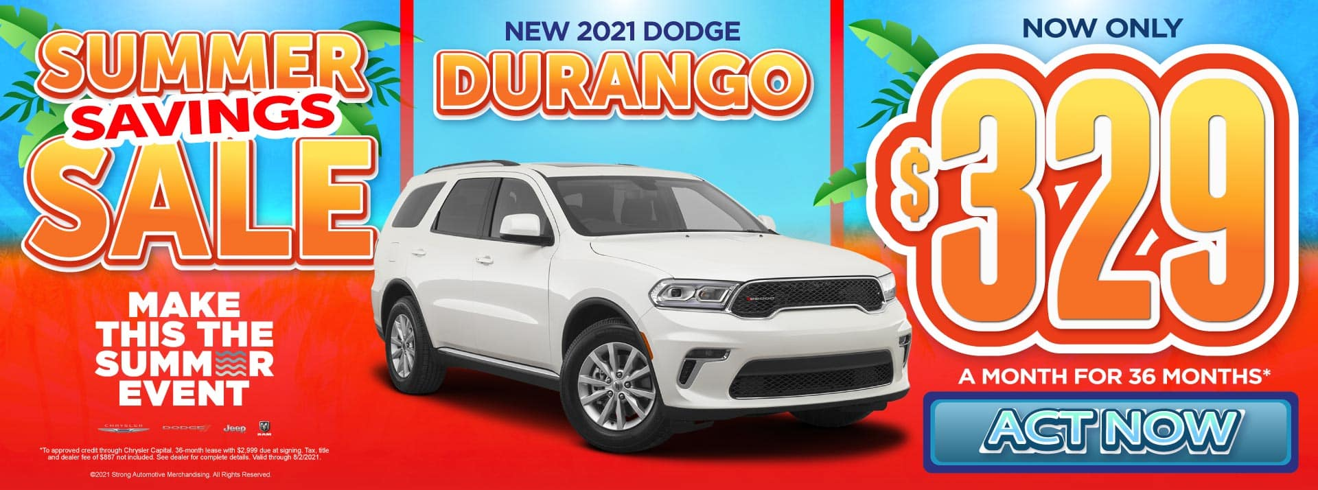 New 2021 Dodge Durango - Now only $329 a month for 36 months - Act Now
