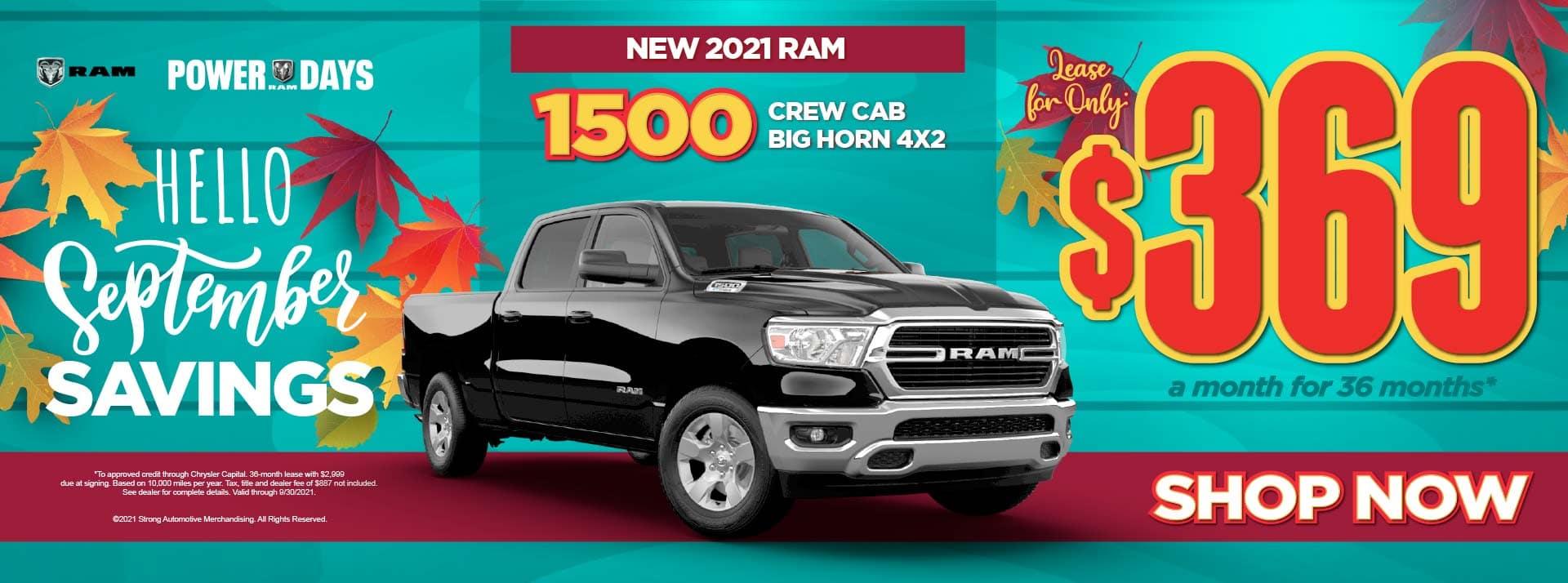New 2021 Ram 1500 Crew Cab Big Horn 4×2 – $369 / mo ACT NOW