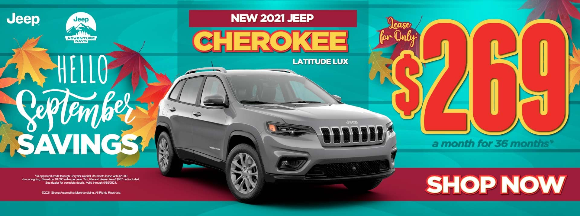 New 2021 Jeep Cherokee Latitude Lux - $269 / mo ACT NOW