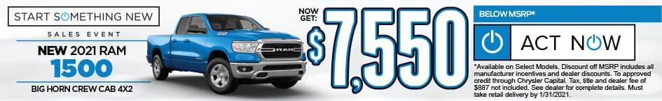 New 2021 RAM 1500 NOW GET $7550 BELOW MSRP* SHOP NOW