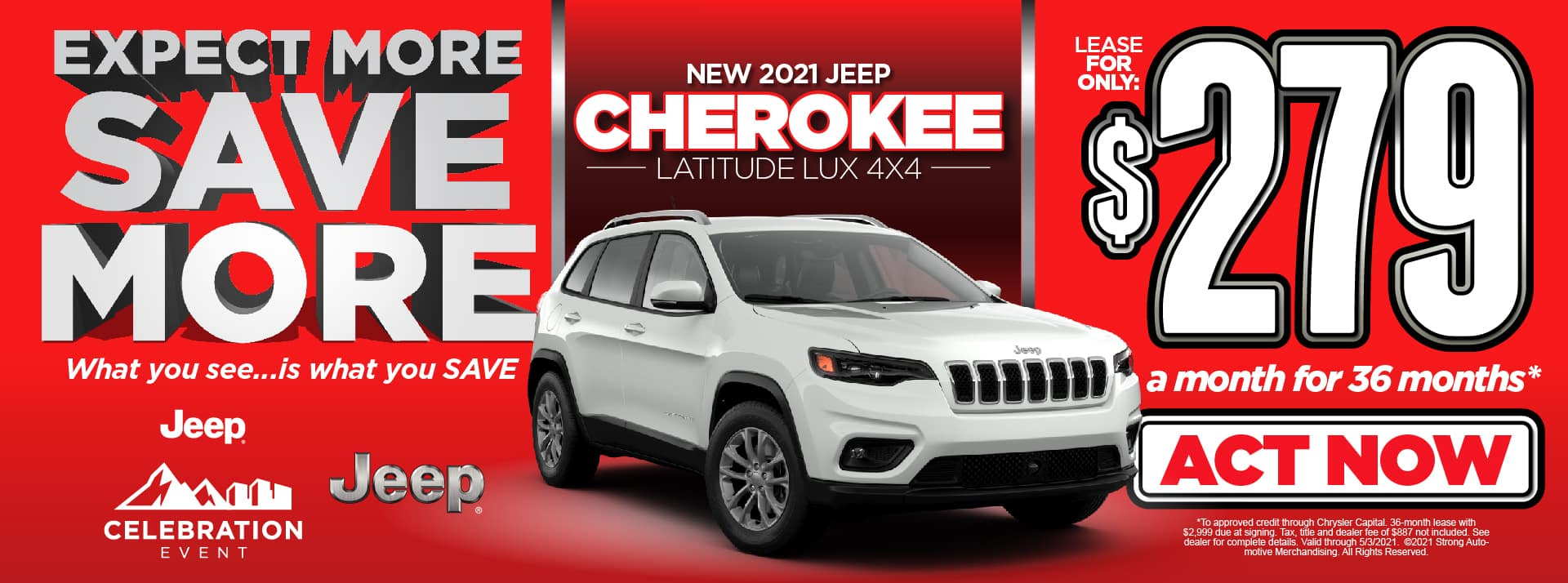 NEW 2021 JEEP CHEROKEE LATITUDE LEASE FOR $279/MO* ACT NOW