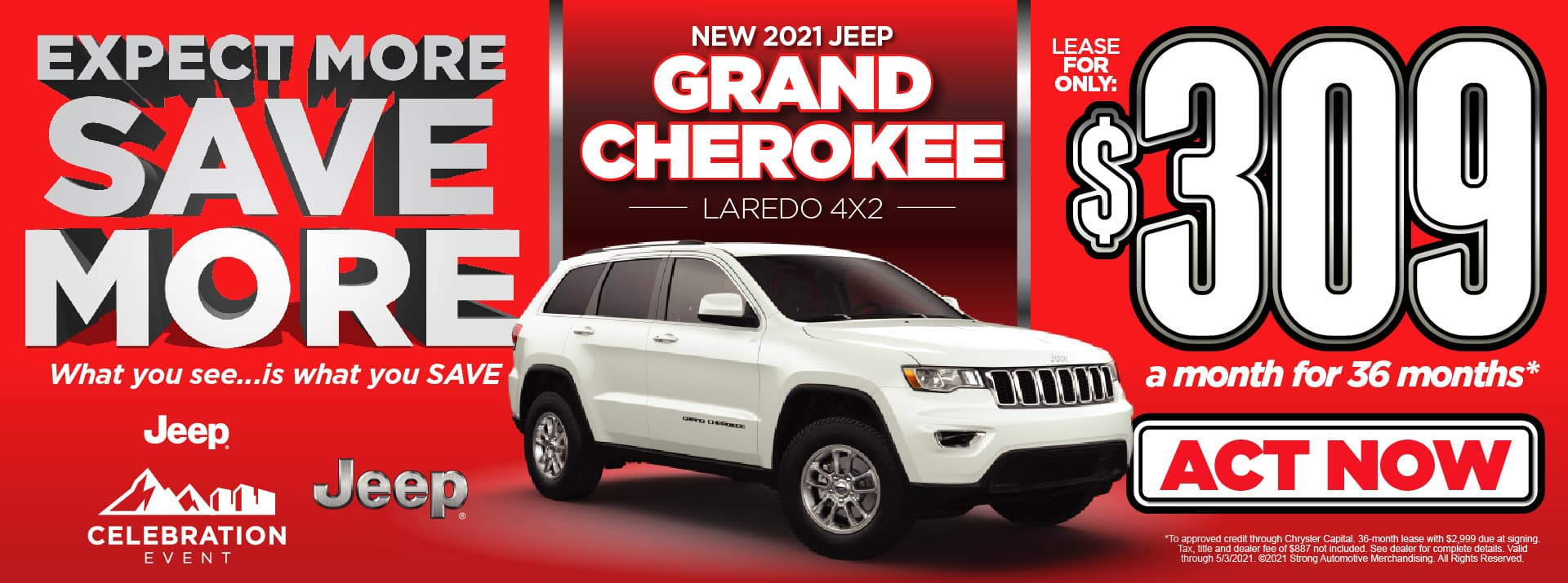 NEW 2021 JEEP GRAND CHEROKEE LEASE FOR $309/MO* ACT NOW