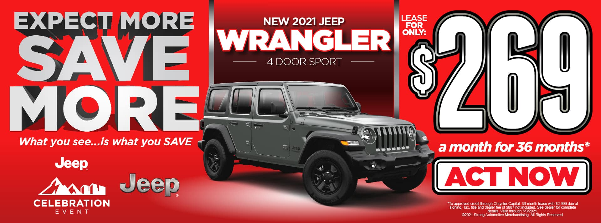 NEW 2021 JEEP WRANGLER LEASE FOR $269/MO* ACT NOW