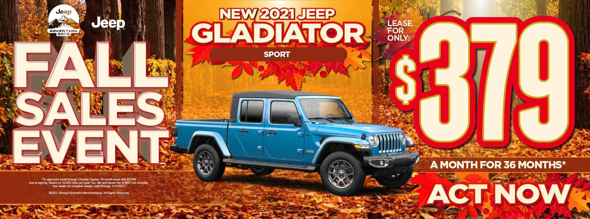 New 2021 Jeep Gladiator Sport - $379 / mo - ACT NOW