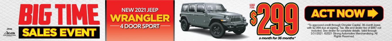 NEW 2021 JEEP WRANGLER LEASE FOR $299/MO* ACT NOW