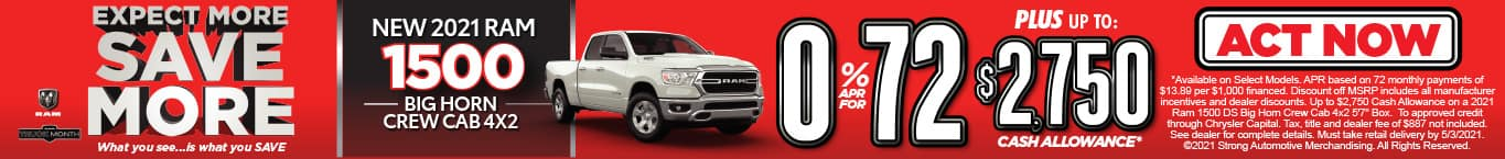 NEW 2021 RAM 1500 0% FOR 72 MOS* ACT NOW