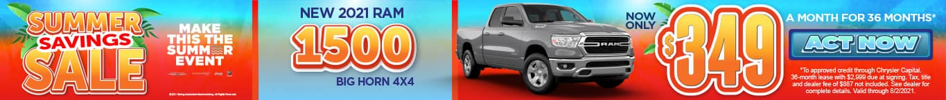 New 2021 Ram 1500 - Now only $349 a month for 36 months - Act Now