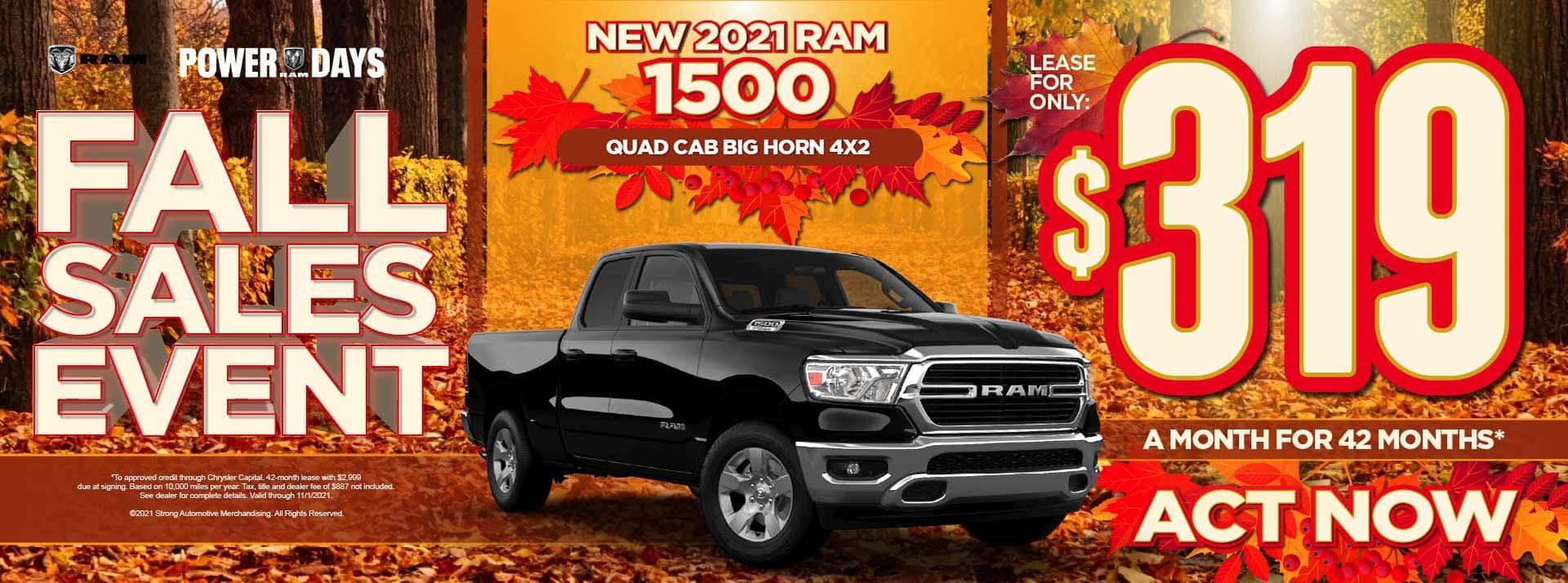 New 2021 Ram 1500 Quad Cab Big Horn 4x2 – $319 / mo - ACT NOW