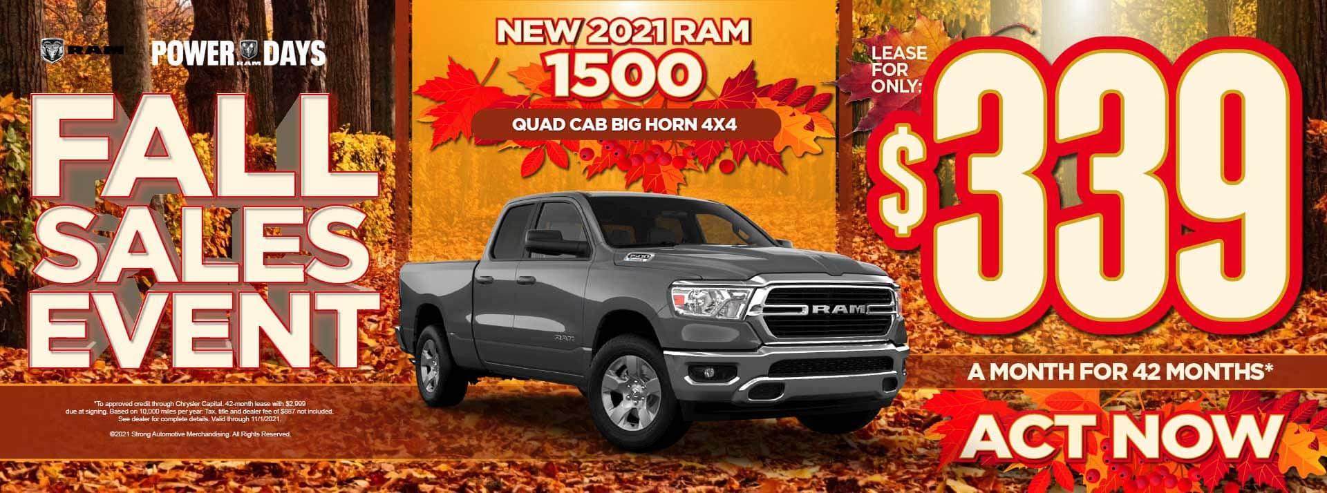 New 2021 Ram 1500 Quad Cab Big Horn 4x4 – $339 / mo - ACT NOW