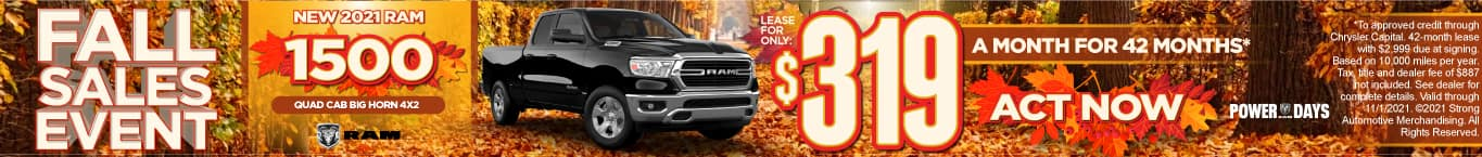 New 2021 Ram 1500 Quad Cab Big Horn 4x2 - Lease for $319 a month - ACT NOW