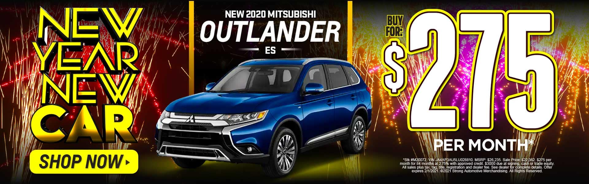 2020 MITSUBISHI OUTLANDER ES $275 A MONTH* ACT NOW
