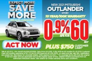 2021 Mitsubishi Outlander Sport 0.9% APR for 60 Mos*