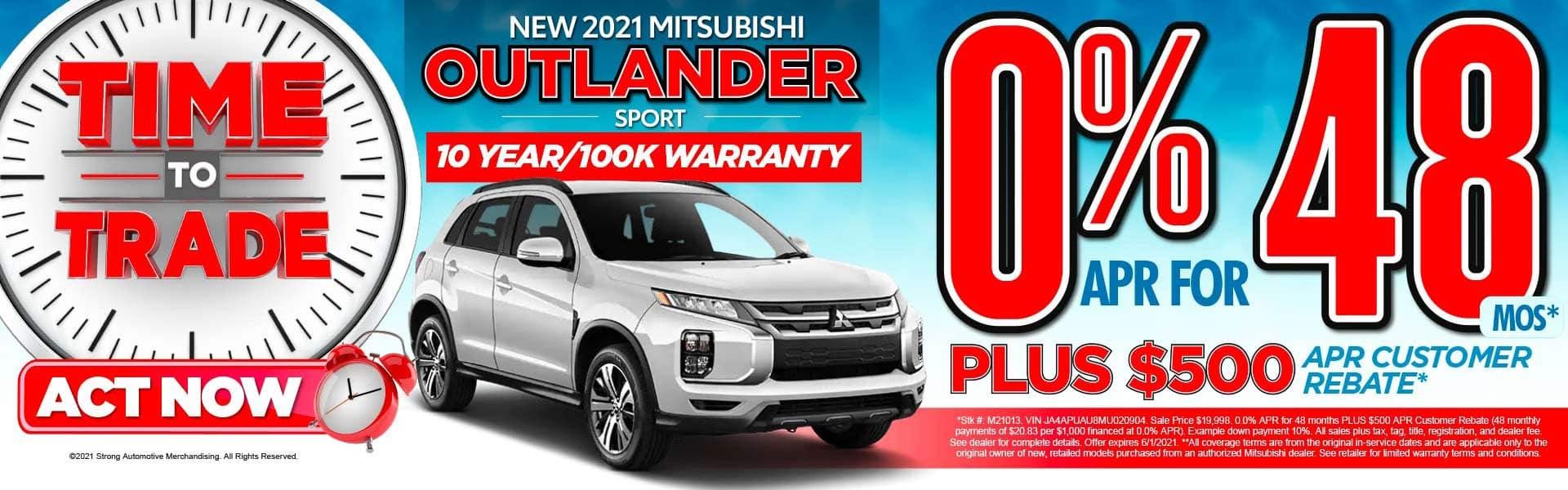 New 2021 Mitsubishi Outlander Sport – 0.0% for 48 months PLUS $500 APR Customer Rebate*